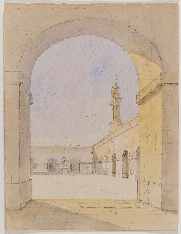 Adolphe Hedwige Alphonse Delamare - Pati del Castell de Montjuïc - 1827
