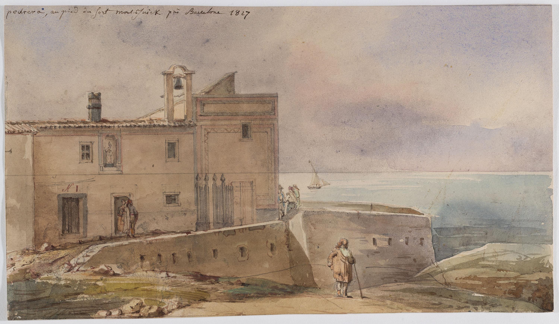 Adolphe Hedwige Alphonse Delamare - Pedrera al peu de Montjuïc - 1827