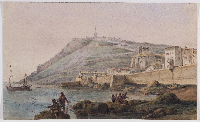 Adolphe Hedwige Alphonse Delamare - Vista de Montjuïc i la muralla de mar - 1826