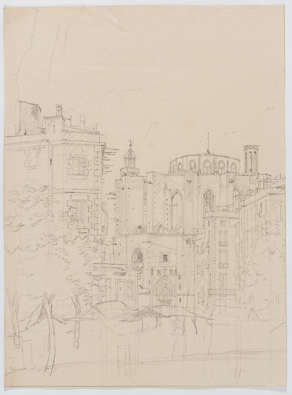 Adolphe Hedwige Alphonse Delamare - Santa Maria del Mar des del Passeig Nou o de l'Esplanada a Barcelona - 1826