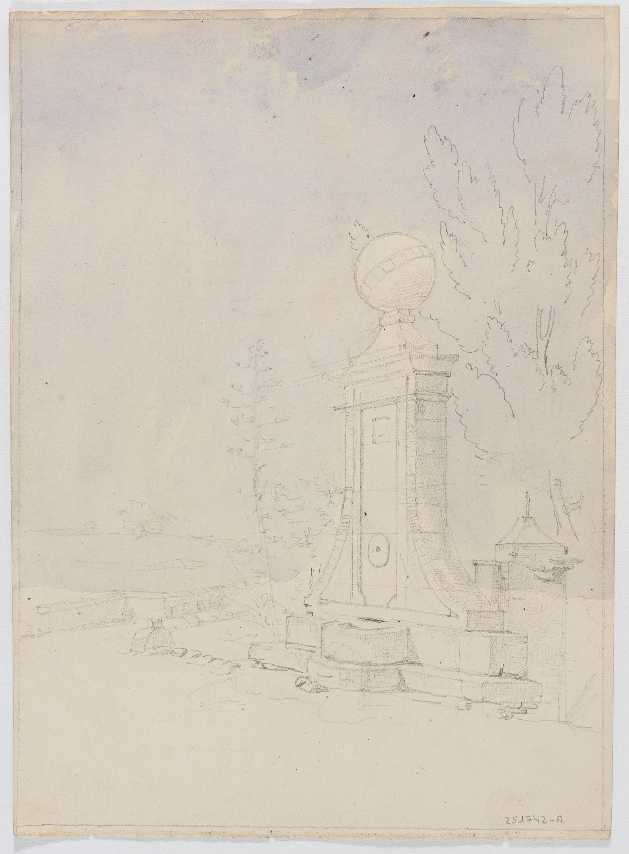 Adolphe Hedwige Alphonse Delamare - Font al camí de Sants a Molins de Rei (anvers) / Diversos apunts de personatges, tipus populars i religiosos (revers) - 1826