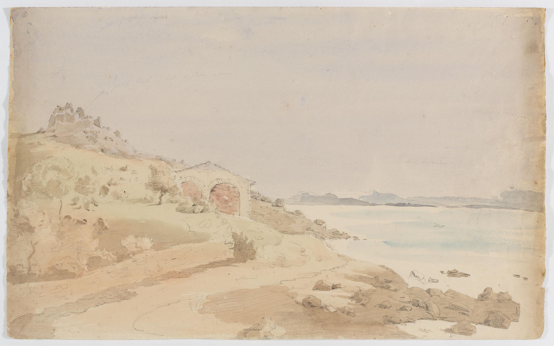 Adolphe Hedwige Alphonse Delamare - Ruïnes del castell de la Trinitat al Golf de Roses - Cap a 1825