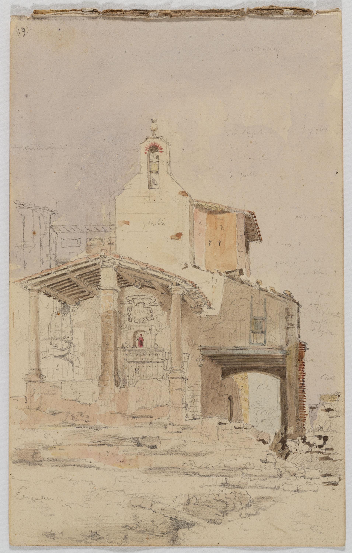 Adolphe Hedwige Alphonse Delamare - Capella de la Mare de Déu del Remei a Manresa (anvers) / Pescadors feinejant a la platja (revers) - 14 de maig de 1826