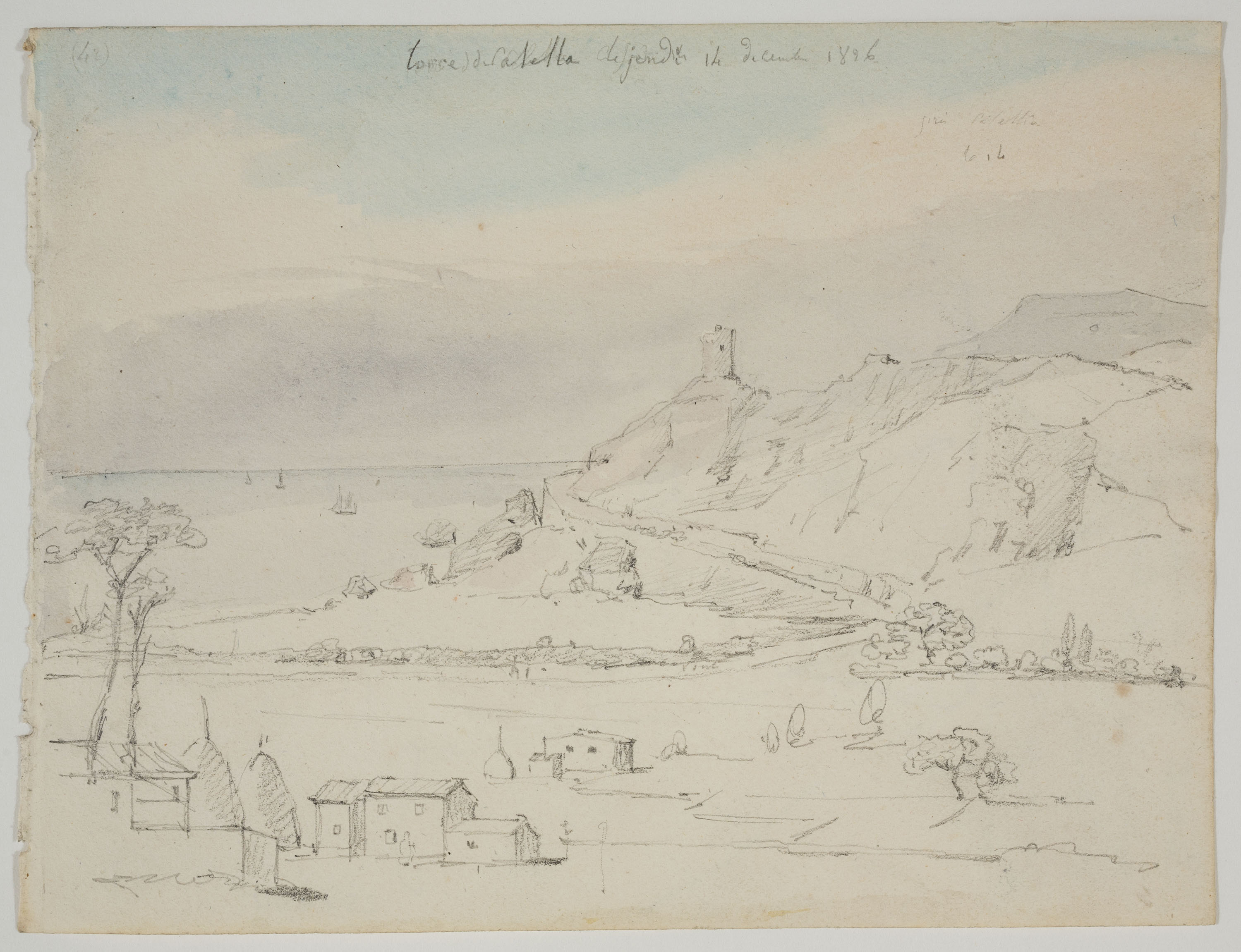 Adolphe Hedwige Alphonse Delamare - Tower in Calella - Thursday, December 14, 1826