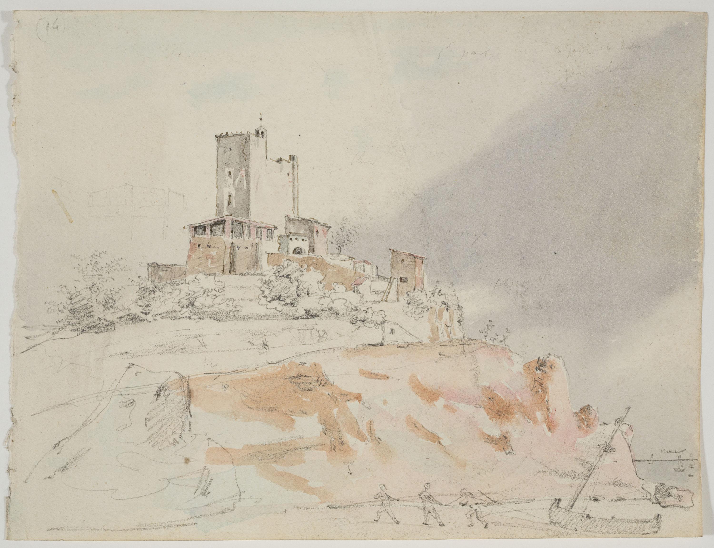 Adolphe Hedwige Alphonse Delamare - Ermita de Sant Pau a Sant Pol de Mar (anvers) / Arbres i ovella (revers) - Dijous 14 de desembre de 1826
