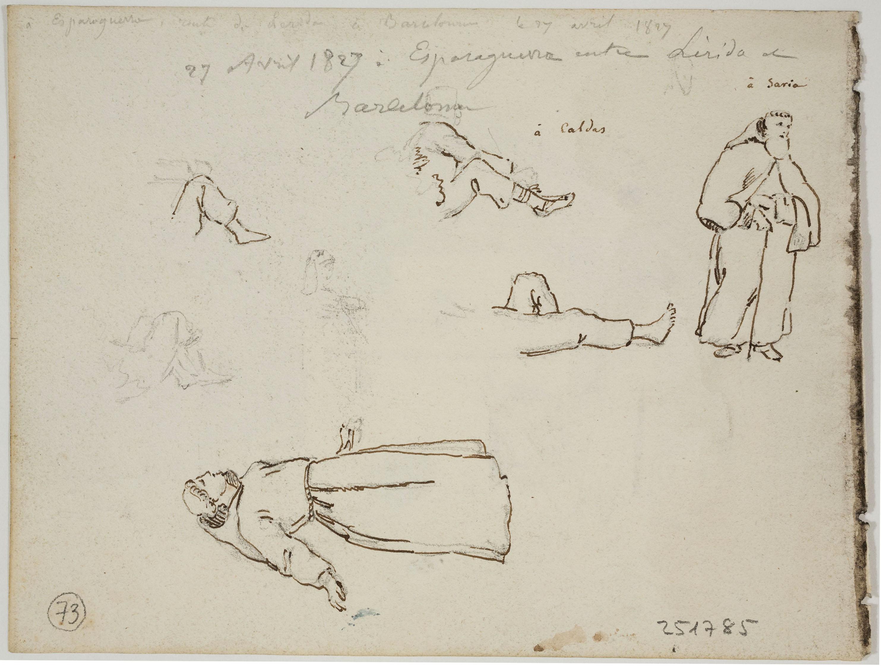 Adolphe Hedwige Alphonse Delamare - Vista de Montserrat des d'Esparreguera (anvers) / Monjos i apunts de cames (revers) - 27 d'abril de 1827 [1]