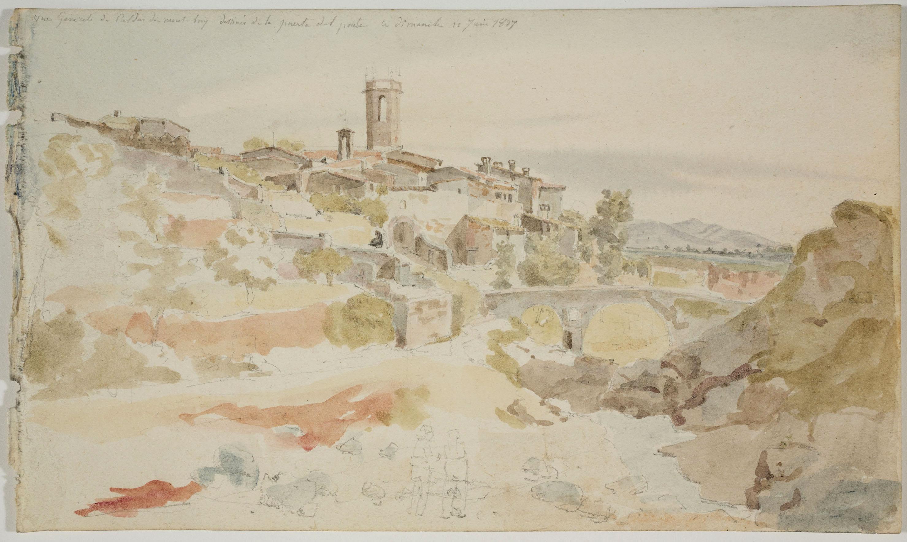 Adolphe Hedwige Alphonse Delamare - Vista de Caldes de Montbui amb el Pont - Diumenge 10 de juny de 1827