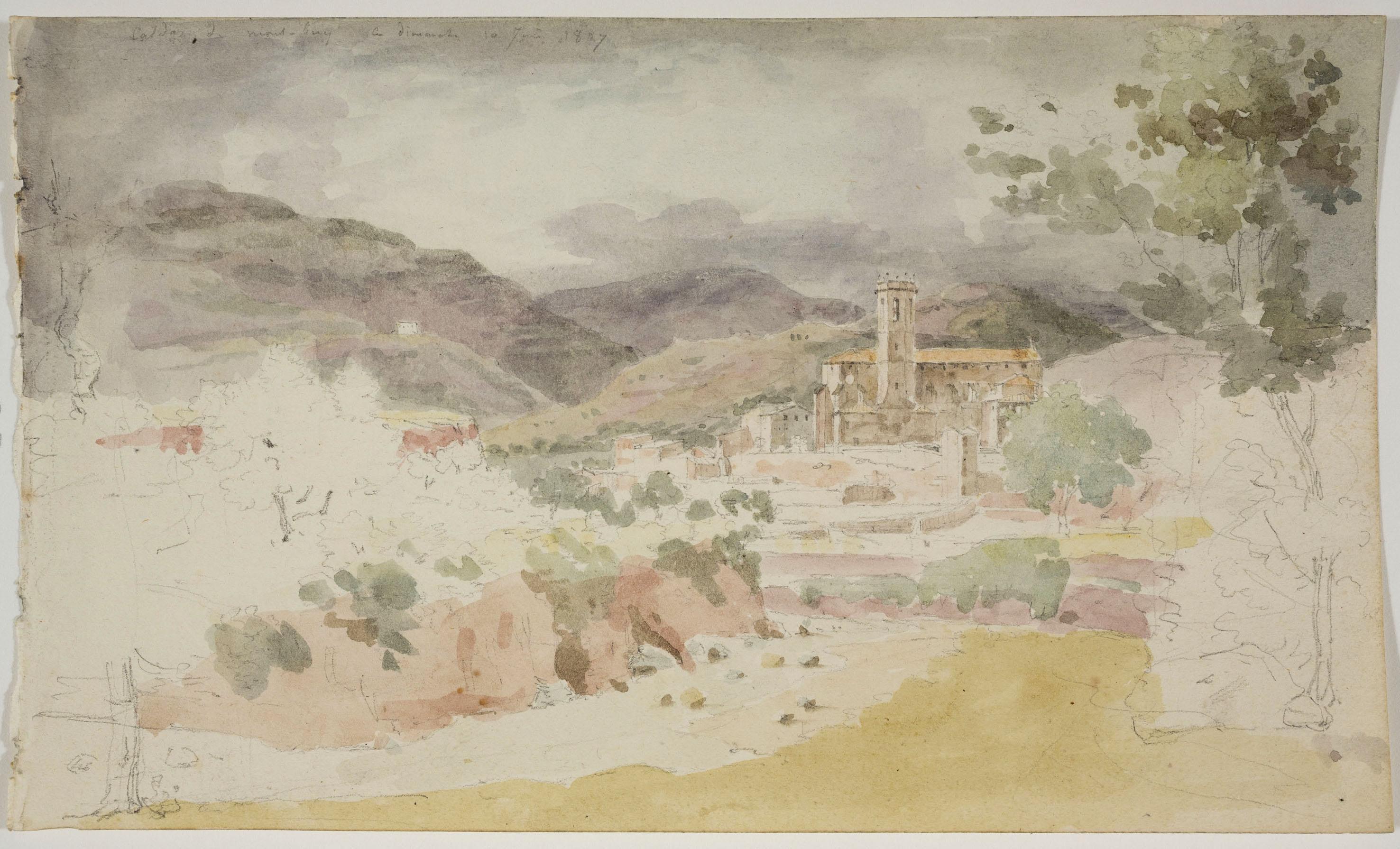 Adolphe Hedwige Alphonse Delamare - Vista de Caldes de Montbui (anvers) / Croquis de figures (revers) - Diumenge 10 de juny de 1827