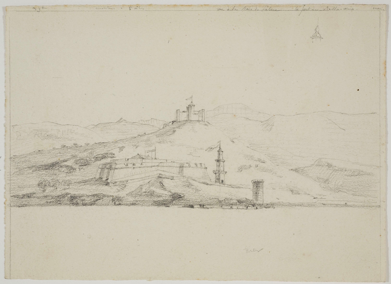 Adolphe Hedwige Alphonse Delamare - Vue de la Baia de Palma i castell de Bellver - Cap a 1824-1827