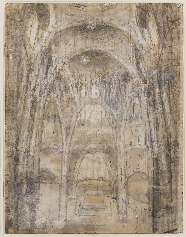 Antoni Gaudí - Vista interior de l'església de la Colònia Güell - Cap a 1908-1910