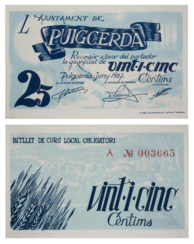 Ajuntament de Puigcerdà - 25 cents - June 1937