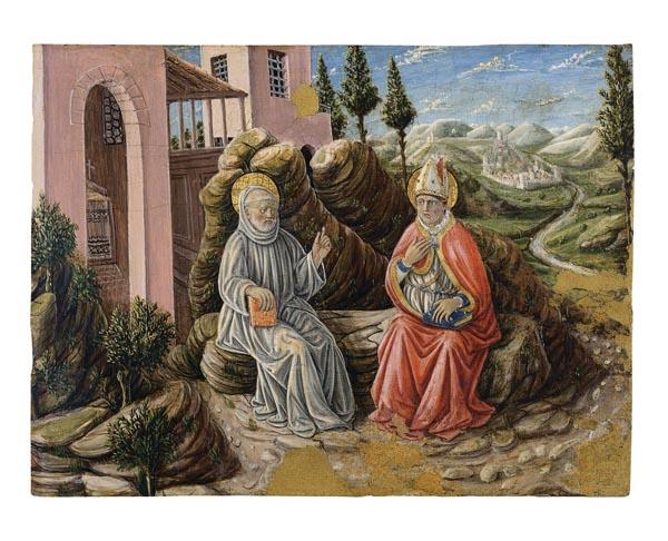 Giovani Boccati - Sant Sabí conversant amb sant Benet - 1473