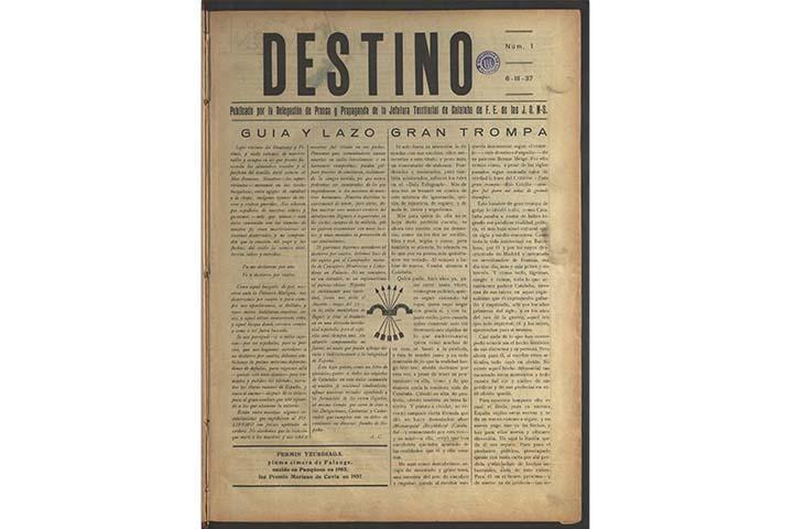 Destino: política de unidad. núm. 1 (6 març 1937), portada