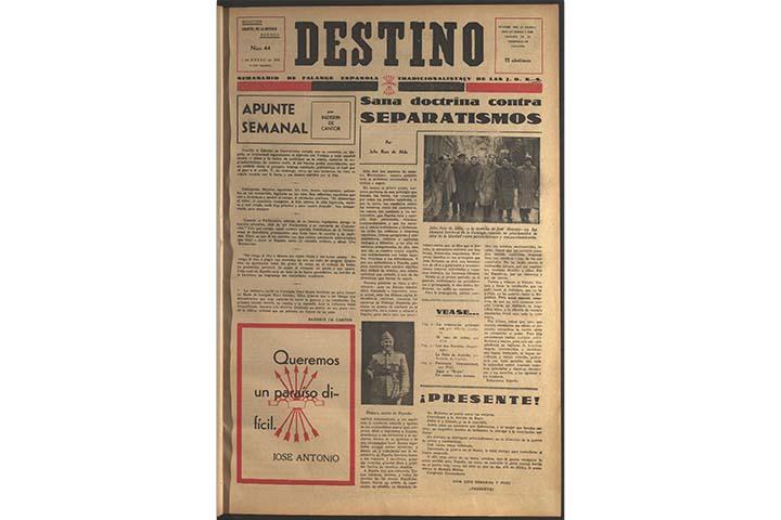 Destino: política de unidad. núm. 44 (1 gener 1938), portada