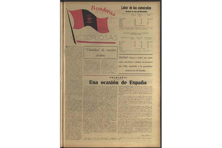 Destino: política de unidad. núm. 96 (1 gener 1939), p. 7