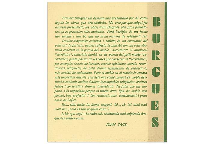 Frimari Burgués us invita a visitar la seva exposició d'objectes de talla... Barcelona, Ateneu Barcelonés, del 15 al 30 de gener de 1938