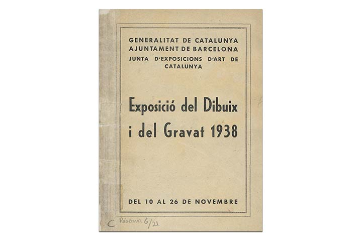 Exposició del dibuix i del gravat 1938. Barcelona: Junta d'Exposicions d'Art de Catalunya, 1938