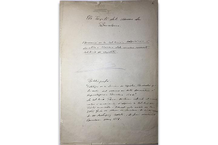 Els Teixits del Museu de Barcelona: formació de la col·lecció... [Manuscrit]