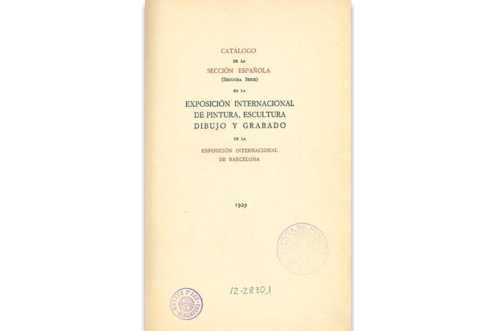Catálogo de la sección española (segunda serie) en la Exposición Internacional de pintura, escultura, dibujo y grabado de la Exposición Internacional de Barcelona