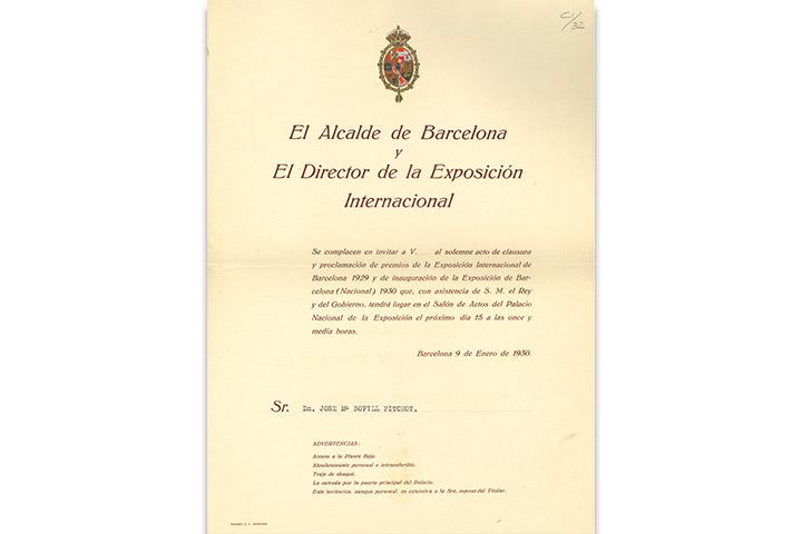 El Alcalde de Barcelona y el director de la Exposición …clausura y proclamación de premios de la Exposición Internacional de Barcelona … 9 de enero de 1930