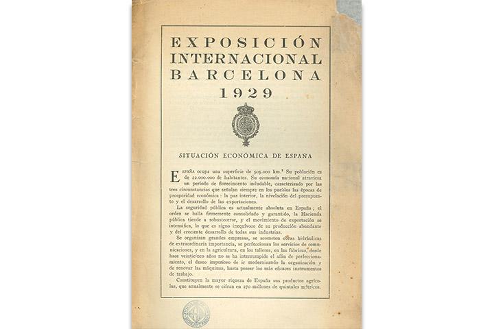 Exposición de Barcelona 1929: situación económica de España