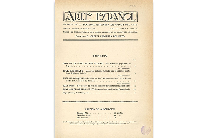 Arte español: revista de la Sociedad de Amigos del Arte