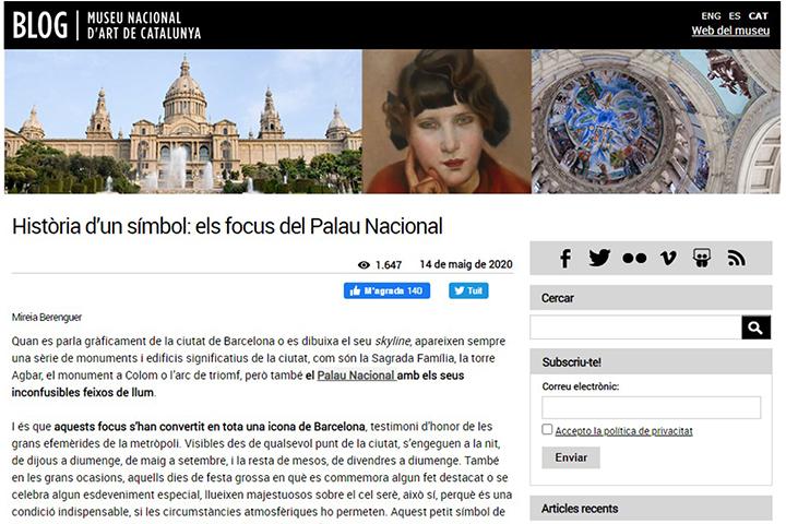 """""""Història d'un símbol: els focus del Palau Nacional"""""""