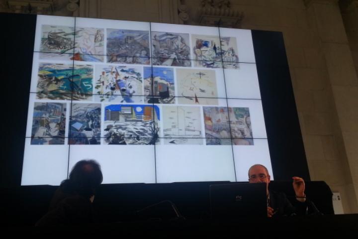 Juan José Lahuerta i Pepe Serra presentant la remodelació d'art modern