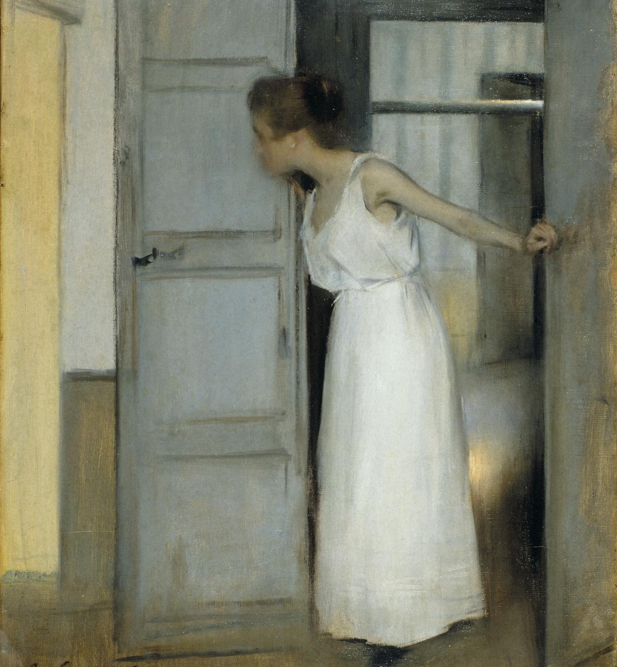 Ramon Casas - Estudio de verano o Primero pasarás sobre mi cadáver - 1893