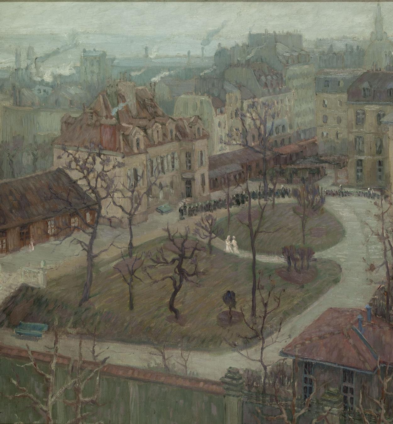Marià Pidelaserra - Bird's-eye View of a Hospital Courtyard (Winter: grey day) - Paris, 1900