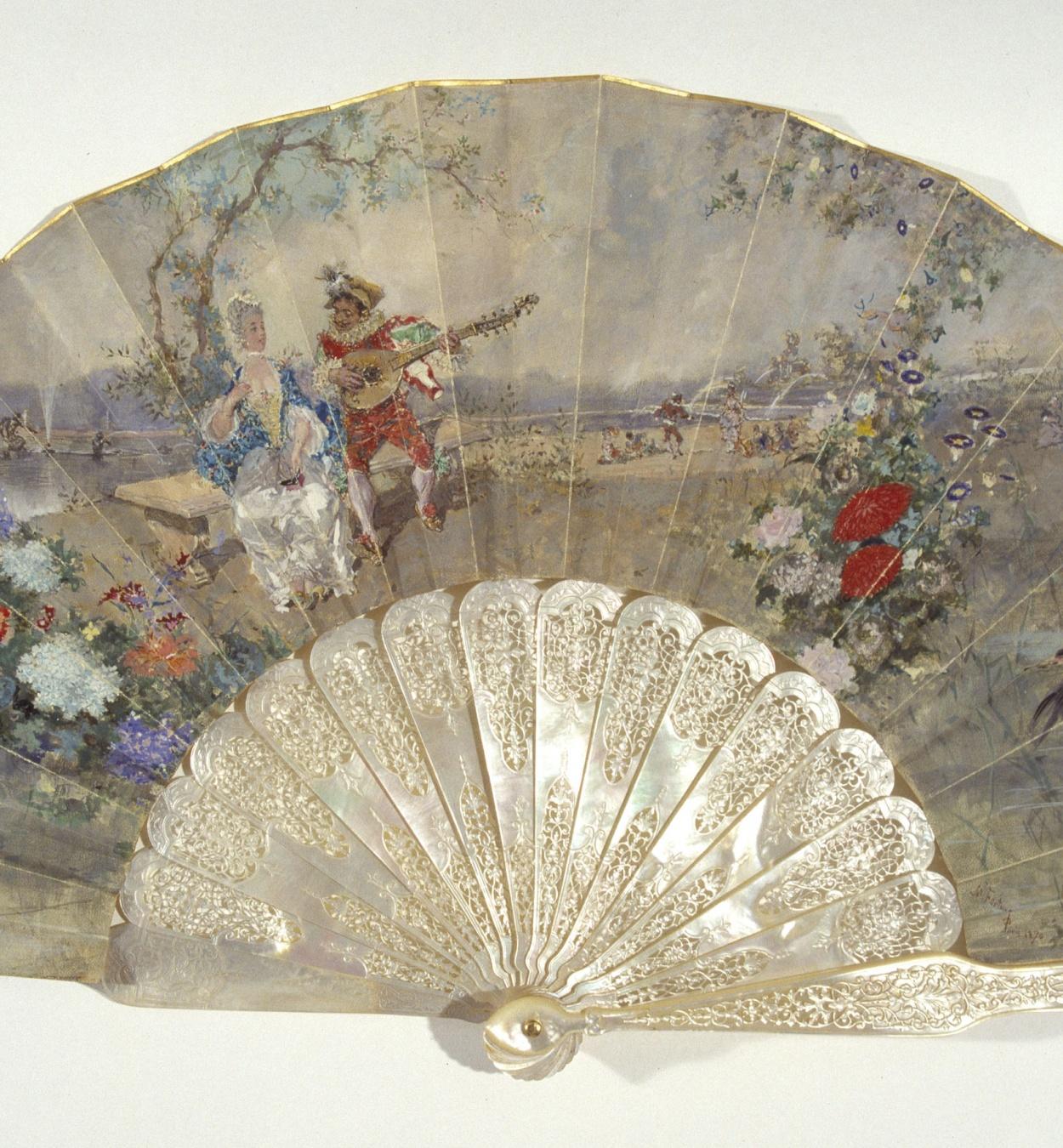 Marià Fortuny - Fan with scene of gallantry - Paris, 1870