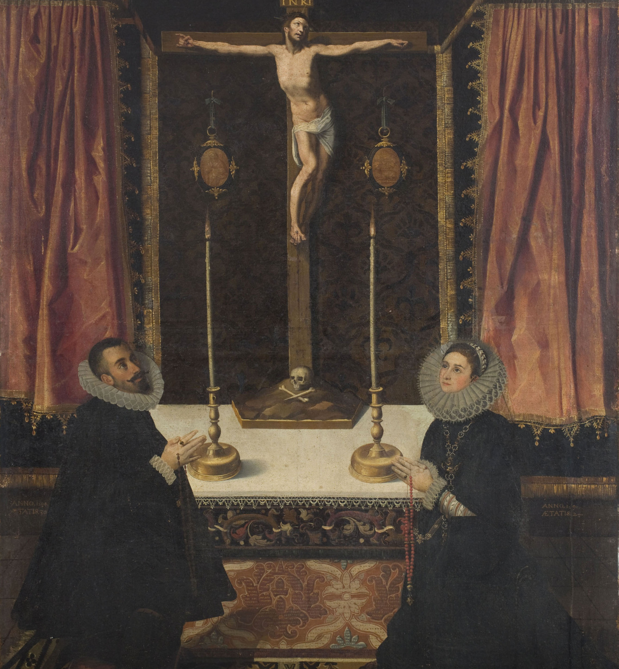 Francisco Martínez, dit «el Jove» - Donors in front of a Crucified Christ - 1594