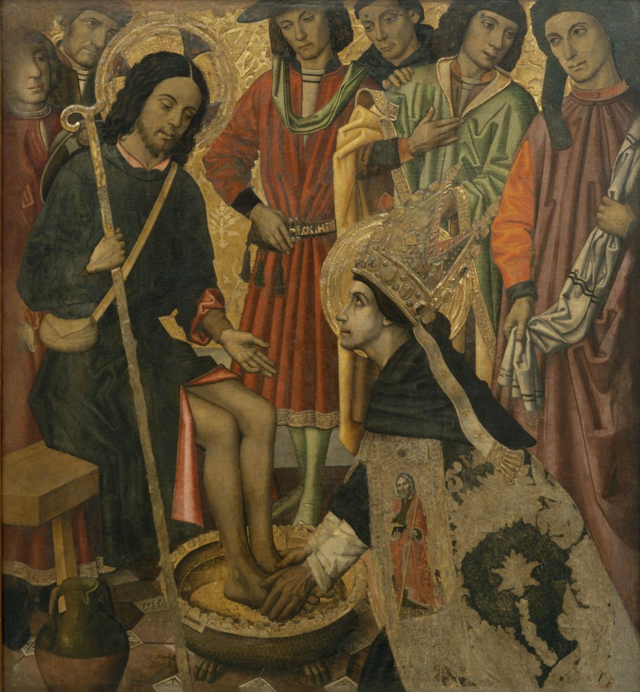 Grup Vergós - Saint Augustine washing the feet to Pilgrim Jesus - Circa 1470/1475-1486