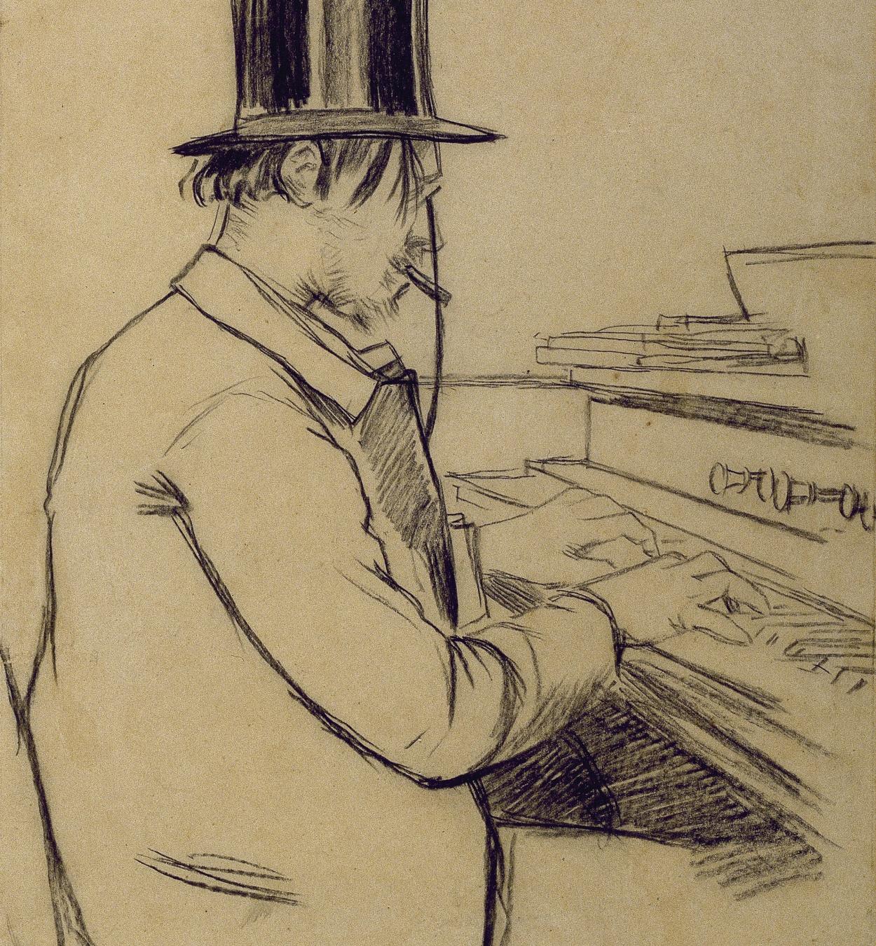 Santiago Rusiñol - Erik Satie Playing the Harmonium - 1891