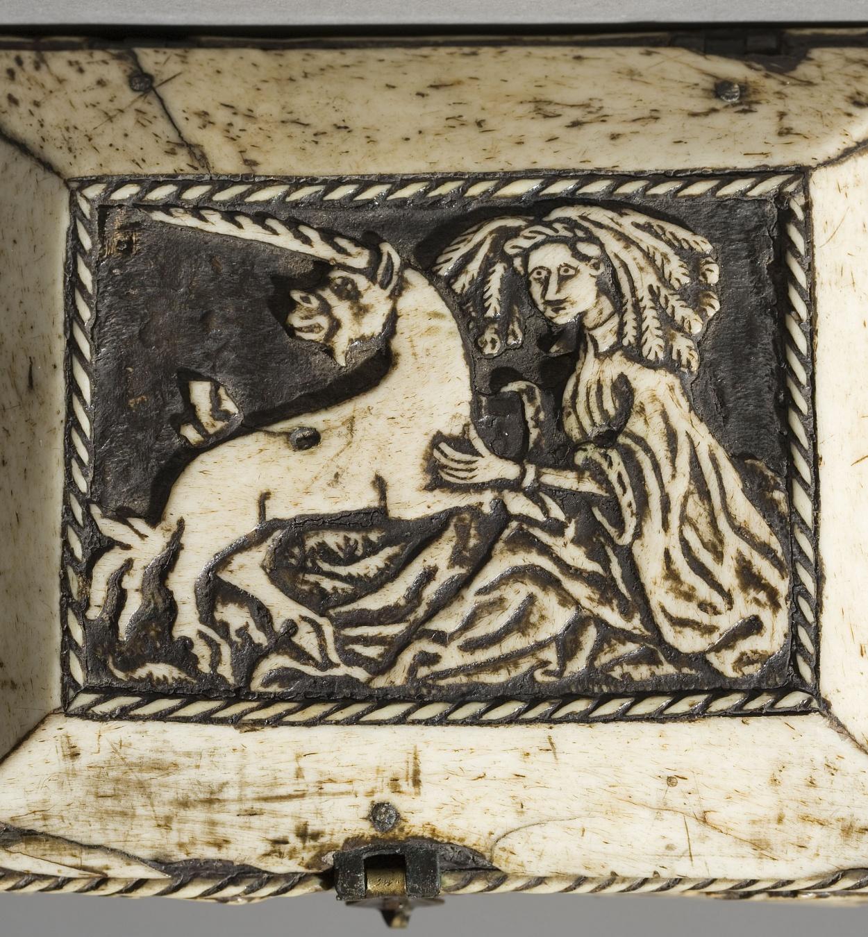 Anònim. França - Capseta amatòria amb dama i unicorn - Segle XV [4]