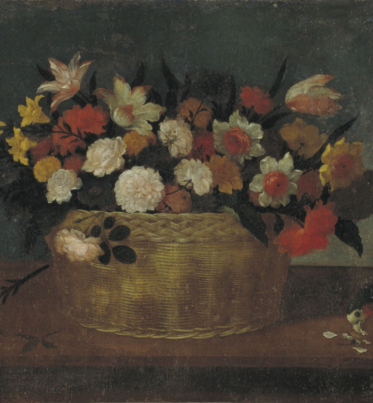 Pedro de Camprobín - Still Life with Flowers in a Basket and Exotic Bird - Circa 1640