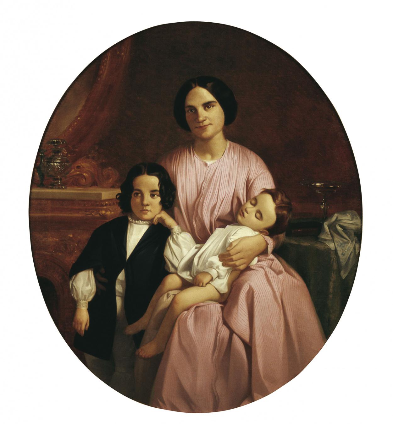 Claudi Lorenzale - Retrat de la dona i els fills del pintor - Barcelona, cap a 1860-1865