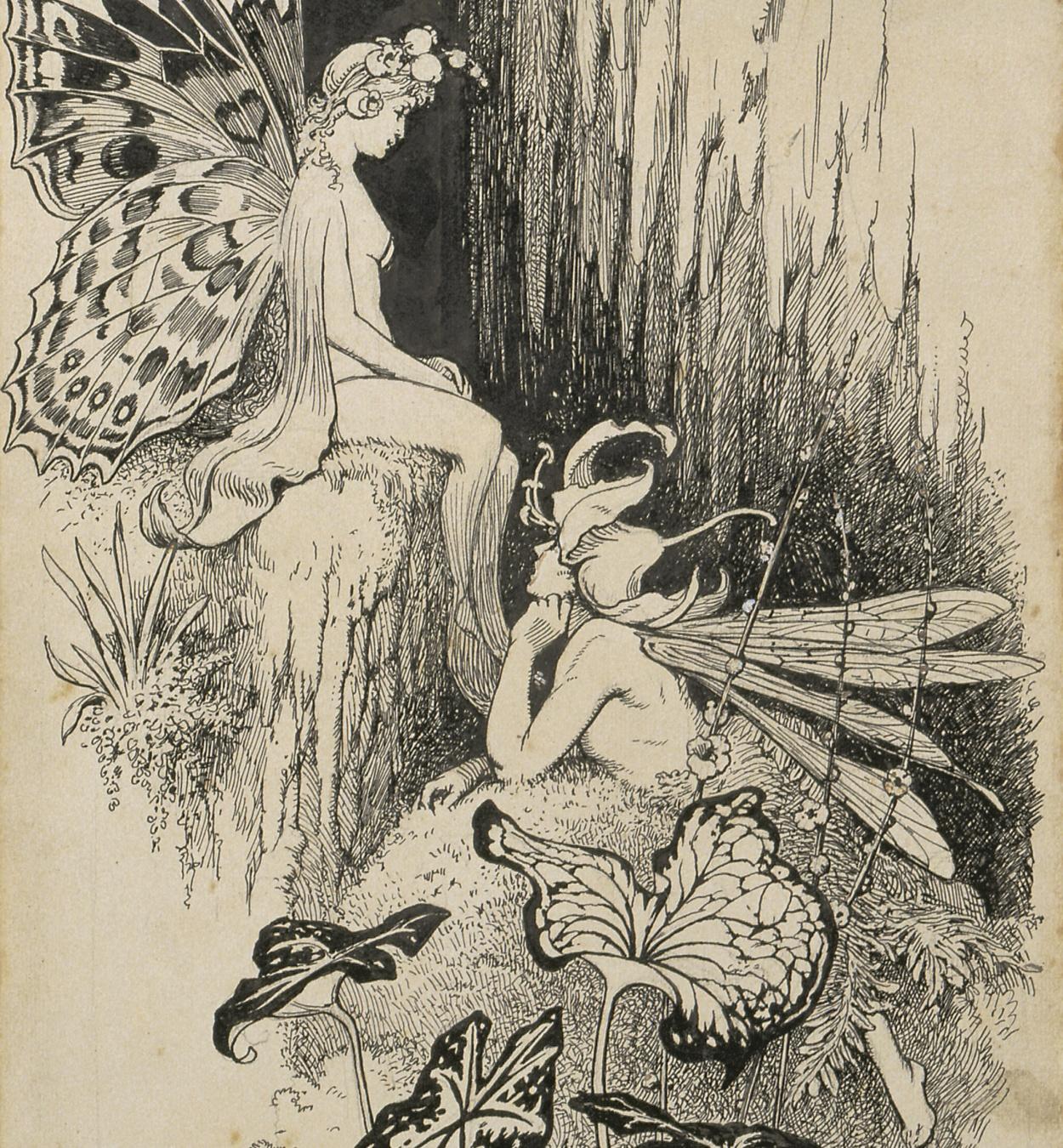 Apel·les Mestres - Liliana and Flor de Lli. Illustration for Apel·les Mestres's poem 'Liliana' - 1905
