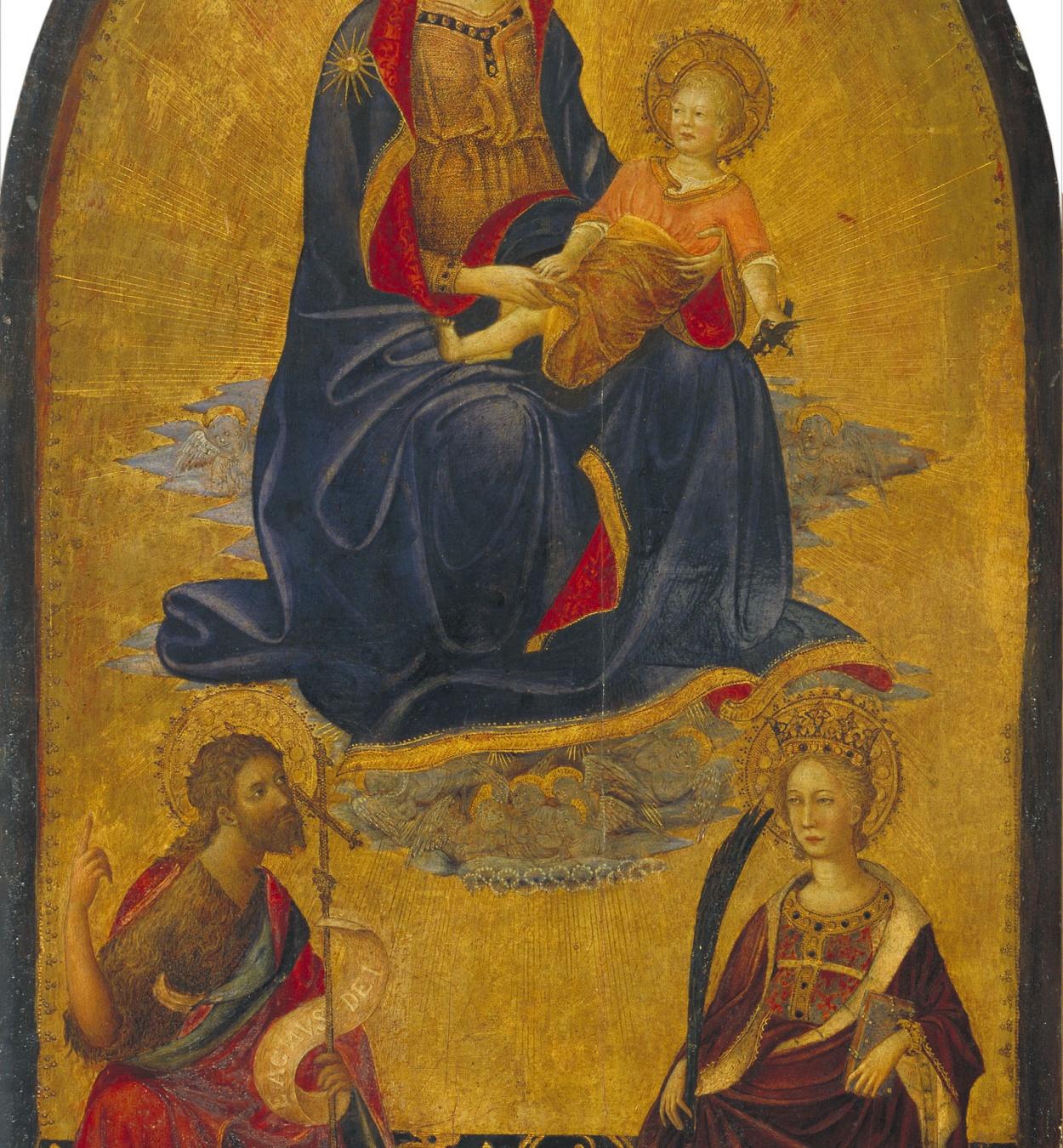 Gherardo Starnina - Mare de Déu amb el Nen Jesús adorat per sant Joan Baptista i santa Caterina - Finals del segle XIV – inicis del segle XV