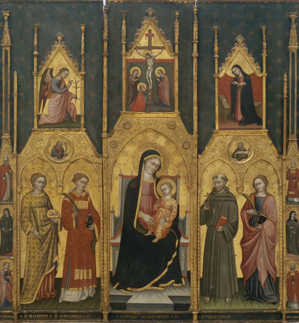 Giovanni di Pietro da Pisa - Retaule de la Mare de Déu amb els sants Àgata, Esteve, Francesc i una santa màrtir - Primer quart del segle XV
