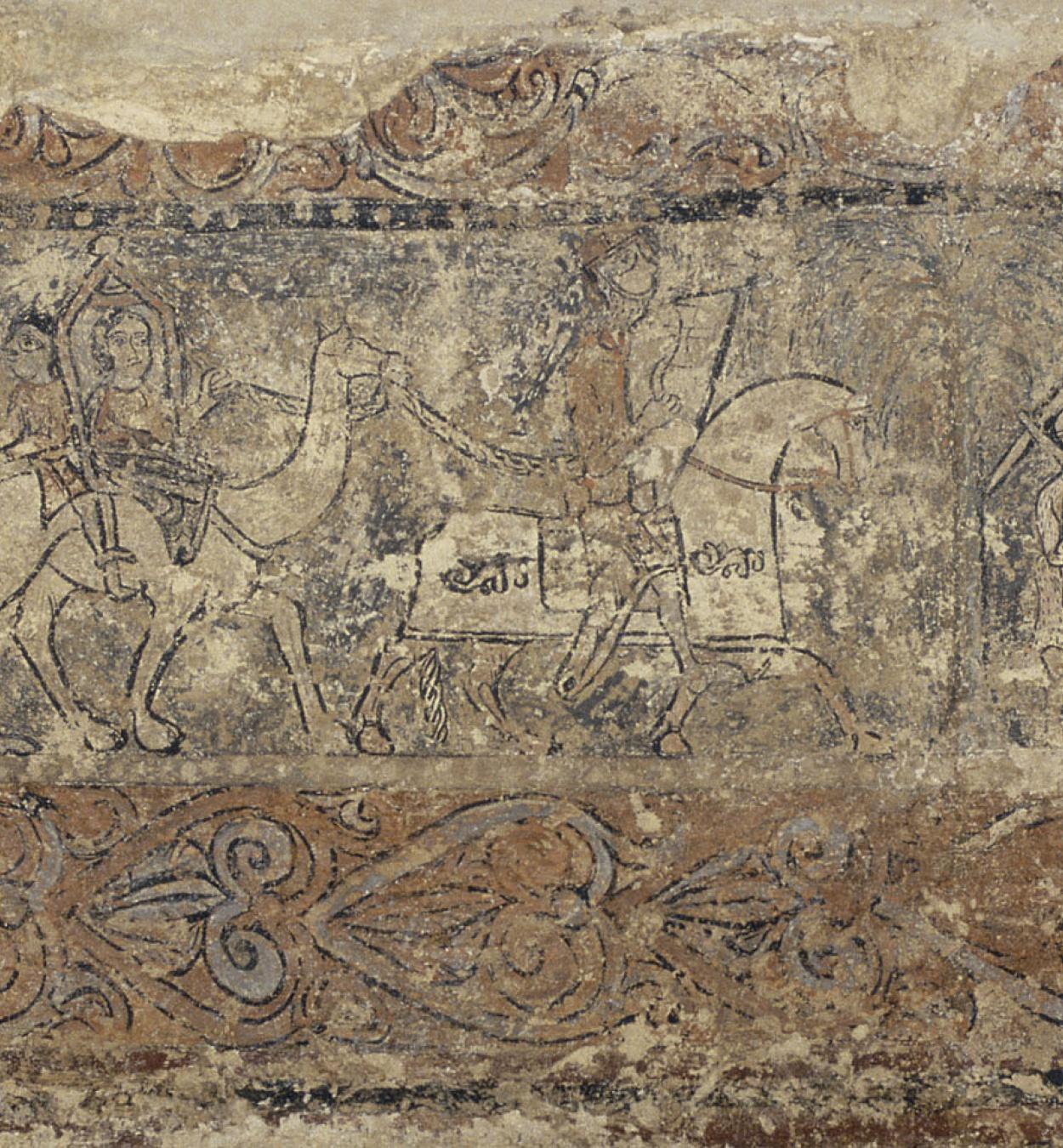 Anònim. Aragó - Pintures profanes de Sixena: Comitiva de pelegrins i assalt d'un castell (Sant Joan d'Acre?) - Cap a 1200