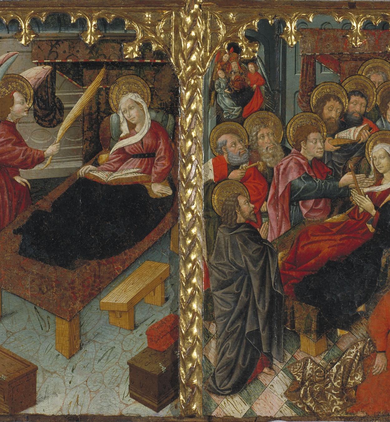 Mestre de Riglos - Anunci de la mort de la Mare de Déu; Dormició de la Mare de Déu - Cap a 1440-1460