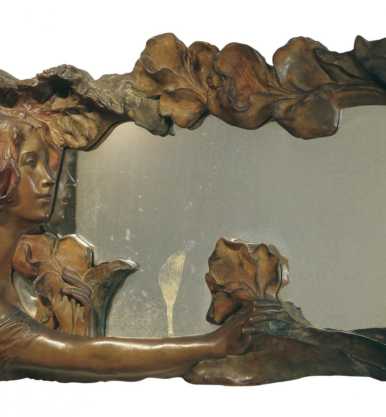 Pablo Gargallo - Marco de espejo con muchacha y lirios - Hacia 1903