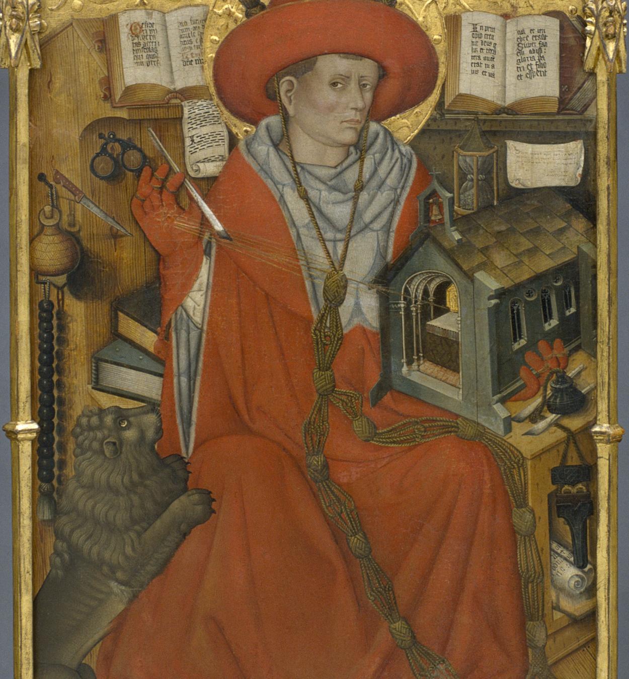 Jaume Ferrer - Sant Jeroni en el seu estudi - Cap a 1450