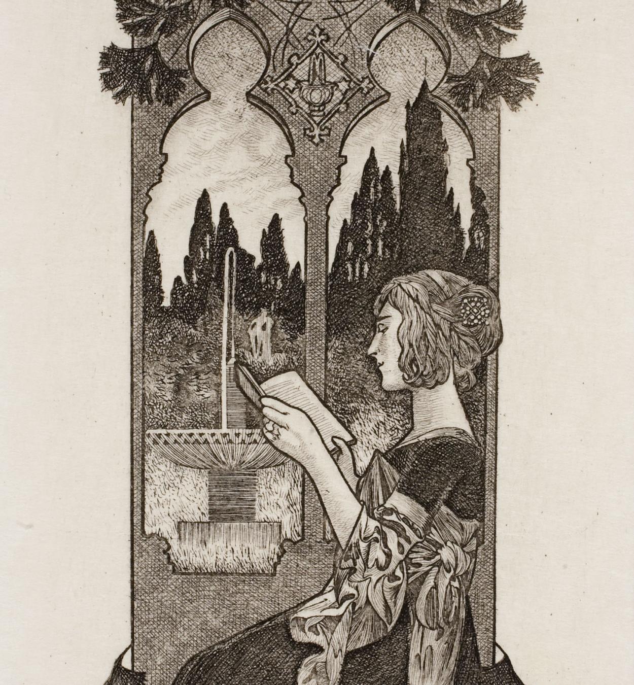 Alexandre de Riquer - Ex libris Pau Font de Rubinat - 1903
