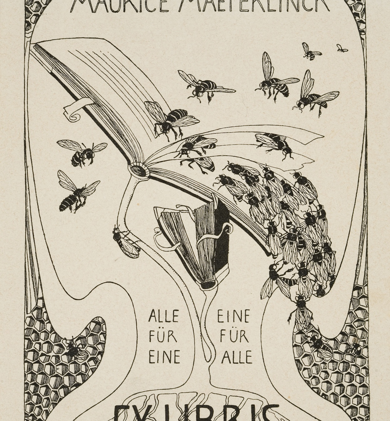 Mathilde Ade - Maurice Maeterlinck book-plate - Circa 1902