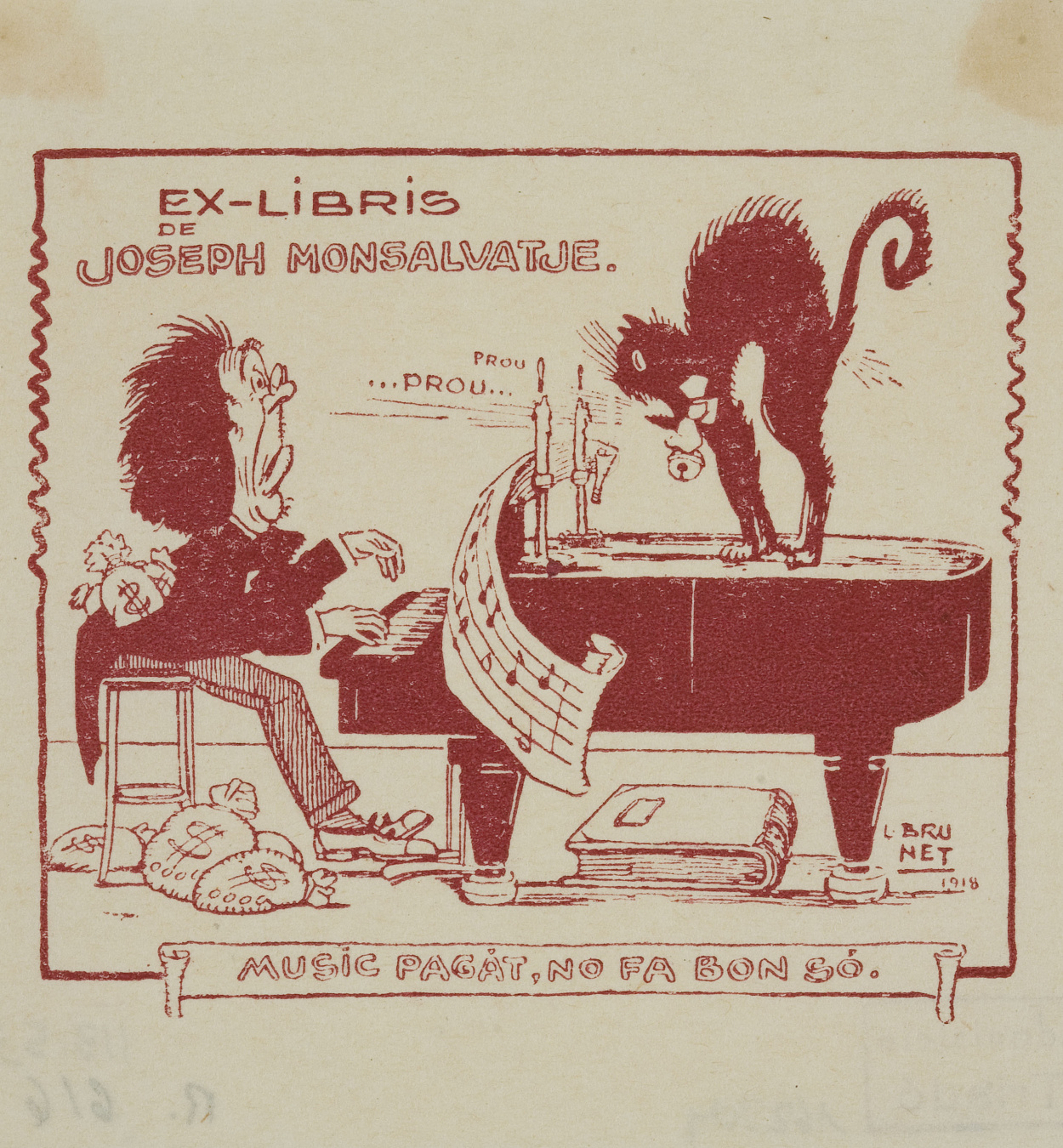 Llorenç Brunet Torroll - Book-plate of Joseph Monsalvatje - 1918