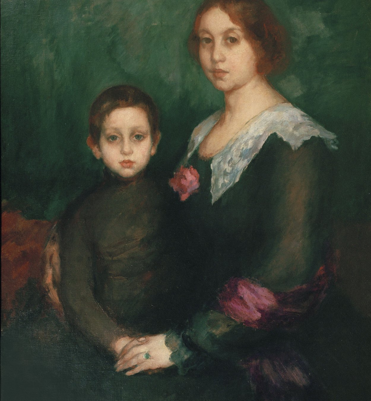 Ricard Canals - Portrait of the Wife and the Son of the Artist - Circa 1912