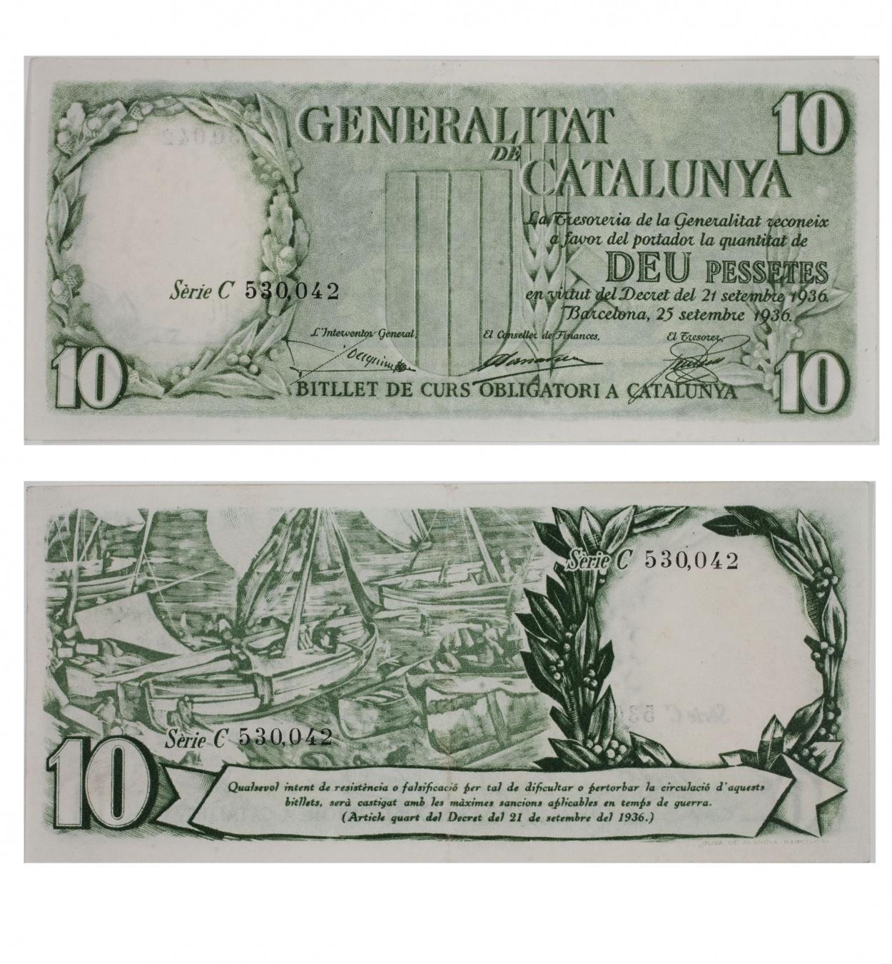 Generalitat de Catalunya - 10 pesetas - 1936
