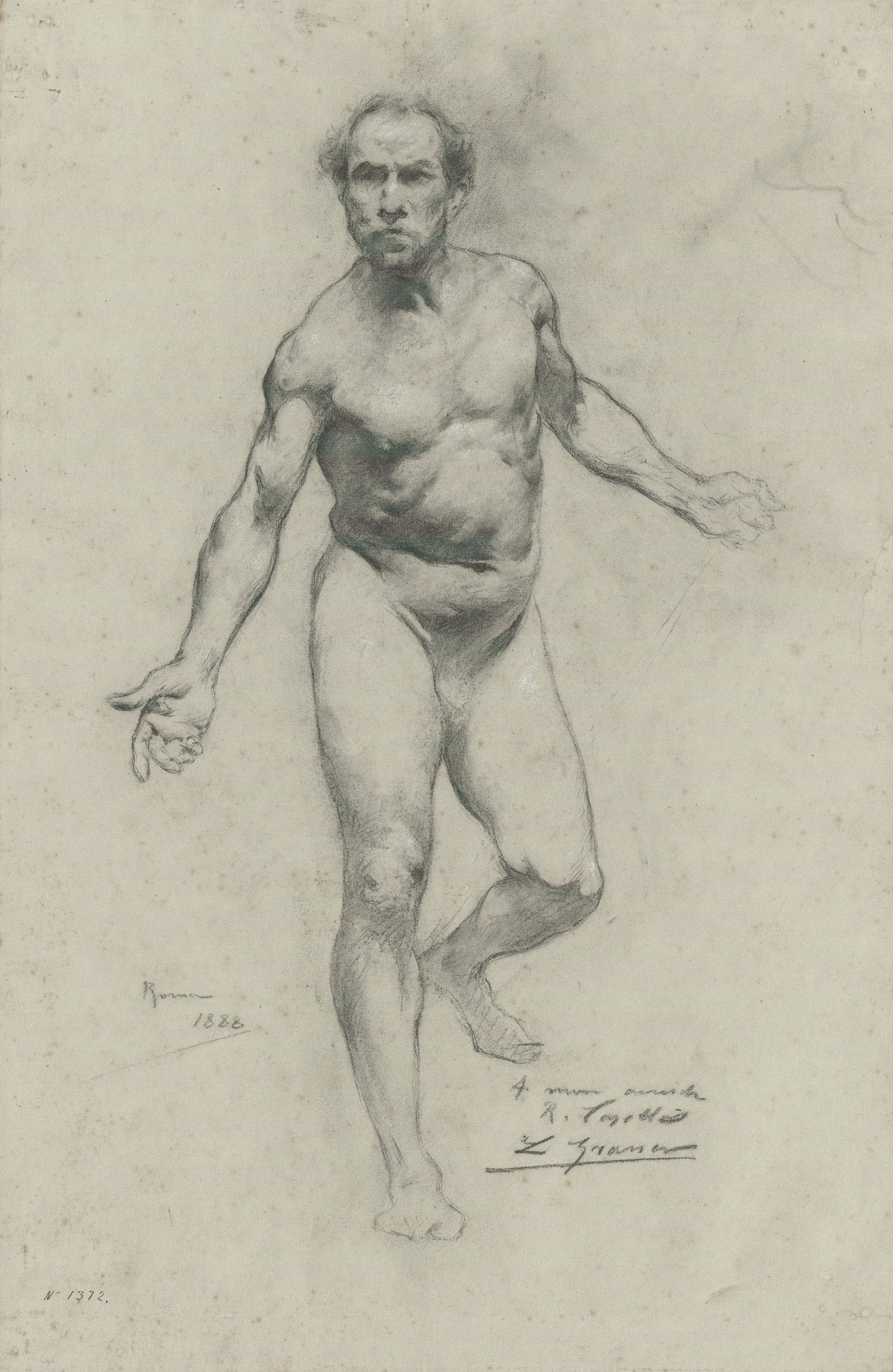 Lluís Graner - Estudi acadèmic d'un nu masculí - Roma, 1888